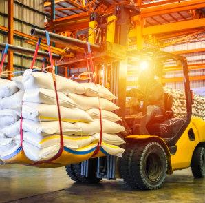 forklift handling sugar bag