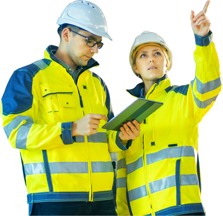 two workers wearing uniform